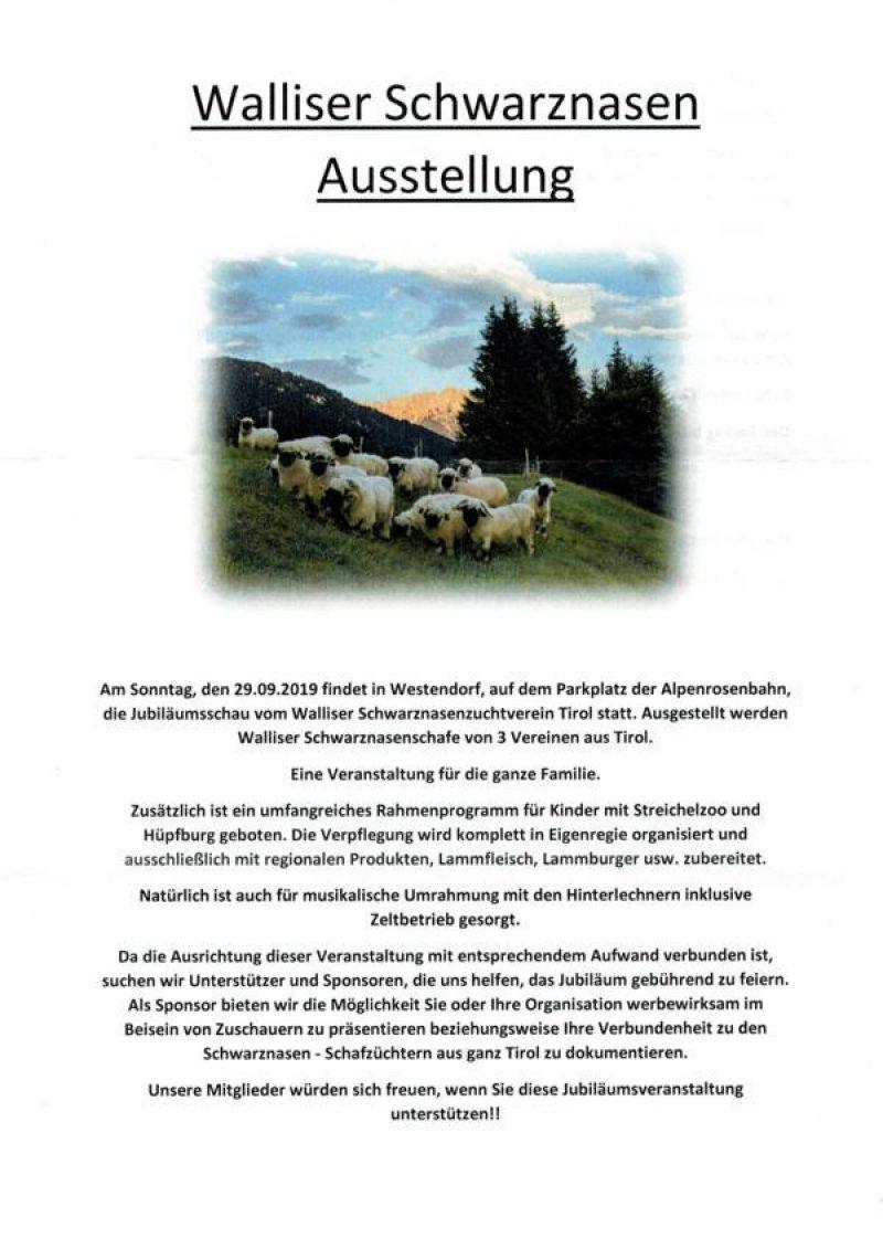 Der Walliser Schwarznasenzuchtverein Tirol feiert sein 25 jähriges Bestehen  mit einer großen Präsentation  der schönsten Walliser Schwarznasenschafe Tirols.